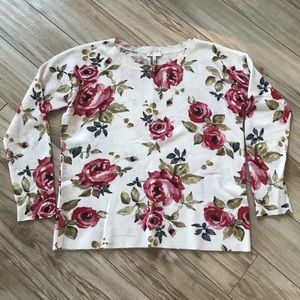 Joie Floral Rose Cashmere Sweater